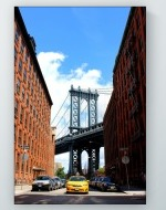 Taxi With Manhattan Bridge Poster