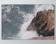 Waves Hitting Rock Poster