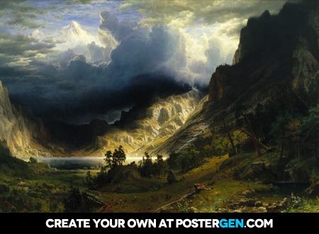Albert Bierstadt - A Storm in the Rocky Mountains, Mt. Rosalie Print