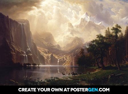 Albert Bierstadt - Among the Sierra Nevada Mountains, California Print