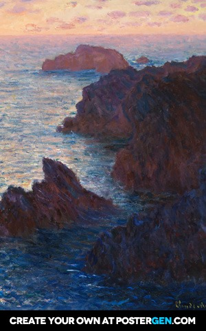 Claude Monet - Rocks at Belle-Isle, Port-Domois Print