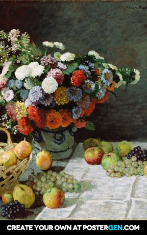 Claude Monet - Still Life with Flowers and Fruit Print