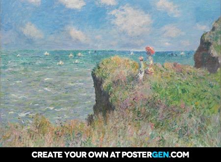 Claude Monet - The Cliff Walk at Pourville Print