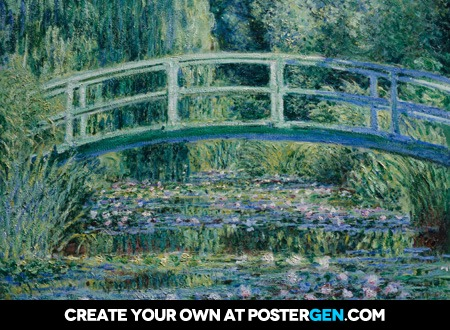 Claude Monet - Water Lilies and Japanese Bridge Print