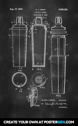 Cocktail Shaker Patent Print