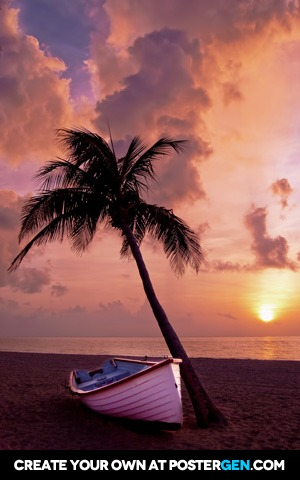 Palm Tree With Boat Print