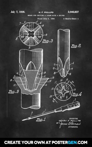 Phillips Screwdriver Patent Print