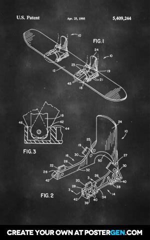 Snowboard Patent Print