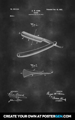 Straight Razor Patent Print