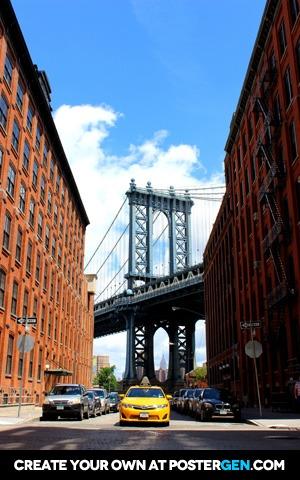 Taxi With Manhattan Bridge Print