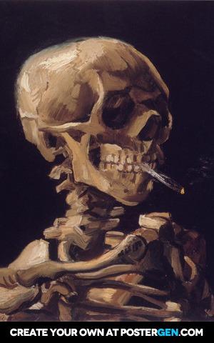 Vincent van Gogh - Skull of a Skeleton with Burning Cigarette Print