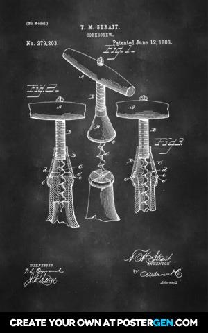 Wine Corkscrew Patent Print