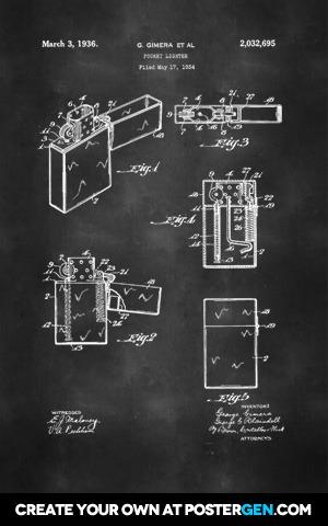 Zippo Lighter Patent Print